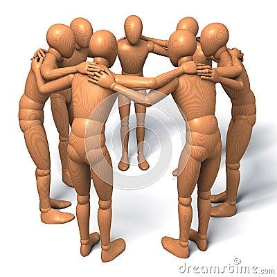 Team, group of figures, men in a circle talking, debating, conspiracy