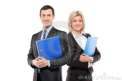 Team of happy businesspeople holding a fascicule