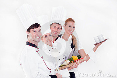 Team of happy chefs