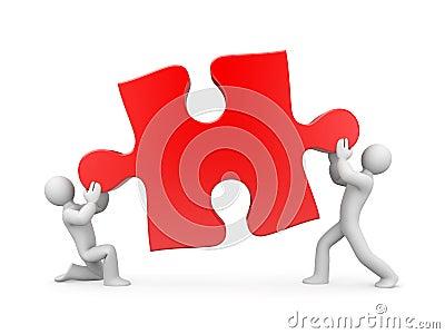 Team holding puzzle