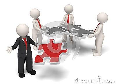 Team leader finishing puzzle