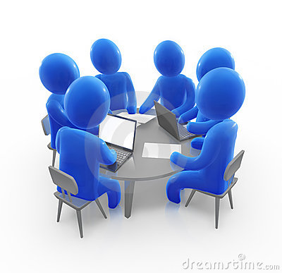 Team Meeting Clip Art Businessman laptop sitting round table stock ...