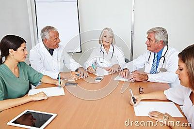 Team meeting of doctors in hospital