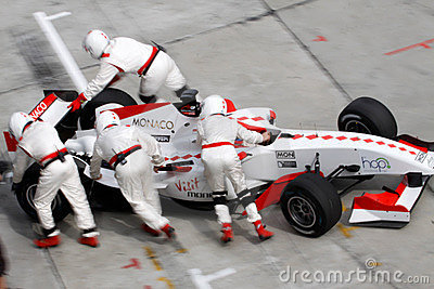 Team Monaco mechanics pushing car back Editorial Photography