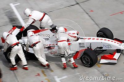 Team Monaco mechanics pushing car back Editorial Photography