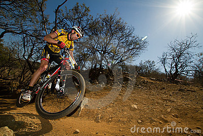 Team MTN Qhubeka rider through corner Editorial Image