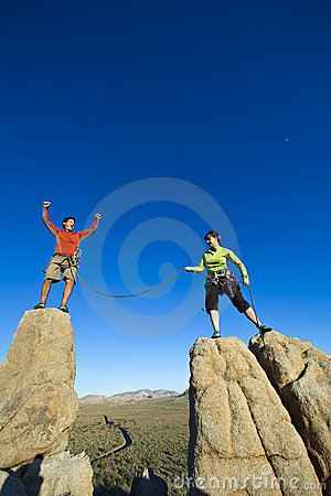 Free Team Of Climbers On The Summit. Royalty Free Stock Image - 15209146
