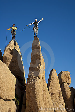 Free Team Of Climbers Reaching The Summit. Royalty Free Stock Photos - 14920708