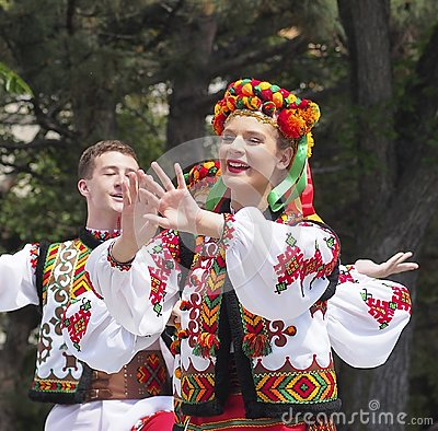 Free Team Of Ukrainian DancersAt Canada Day Celebration Stock Image - 121535491