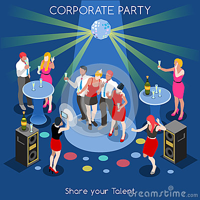 Free Team Party 01 People Isometric Stock Images - 60052624
