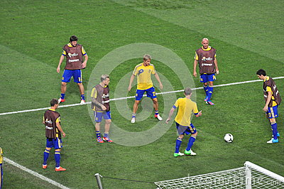 Team players warm up during a break in Ukraine Editorial Image