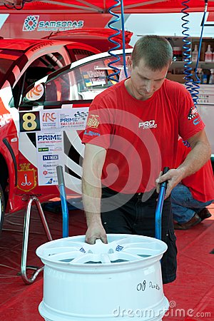Team riders prepares car to Prime Yalta Rally Editorial Stock Photo