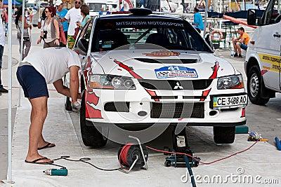 Team riders prepares car to Prime Yalta Rally Editorial Stock Photo