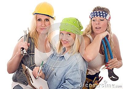 Team sexy women contractors tools