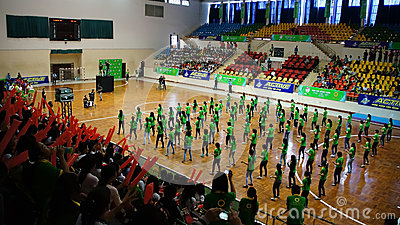 Team show at student festival of competition with large suppor