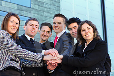 A team of six young and smart business persons