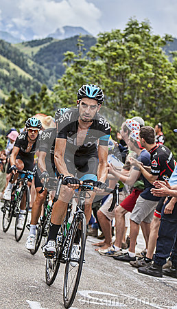 Team Sky Climbing Alpe D Huez Editorial Image