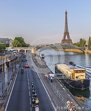 Team Sky i Paris Redaktionell Fotografering för Bildbyråer