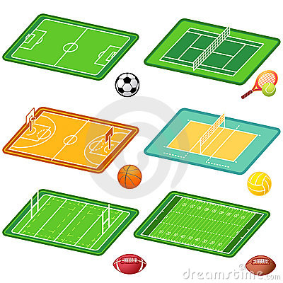 Free Team Sports Fields And Balls Stock Images - 13492554