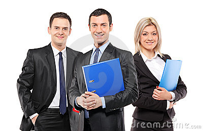 A team of three smiling businesspeople