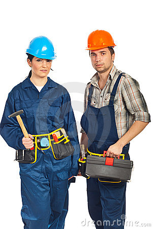Team of two constructor workers