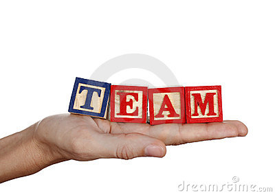 Team word in a hand