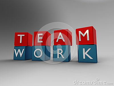 Team work blue and red
