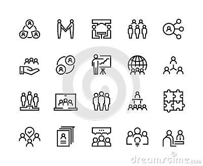 Team work line icons. Business person group work human support teamwork leadership working together. Vector employee Vector Illustration
