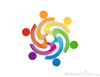 team work logo design,people abstract,modern business,connection Vector Illustration