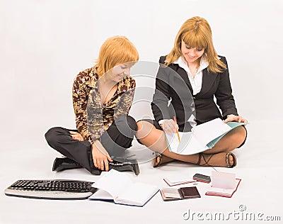 Team work - two students preparing homework