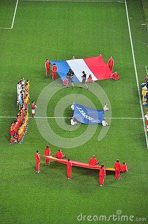 The teams of France and Spain are photographed Editorial Stock Photo