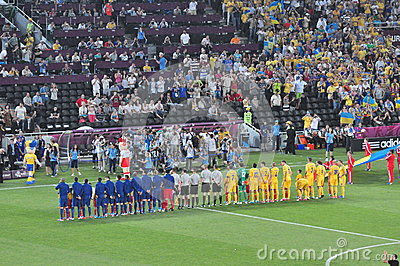Teams of France and the Ukraine listening anthems Editorial Photo