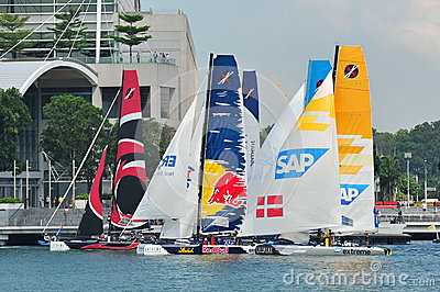 Teams preparing for race start at Extreme Sailing Series Singapore 2013 Editorial Photography