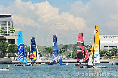 Teams racing at the Extreme Sailing Series Singapore 2013 Editorial Image