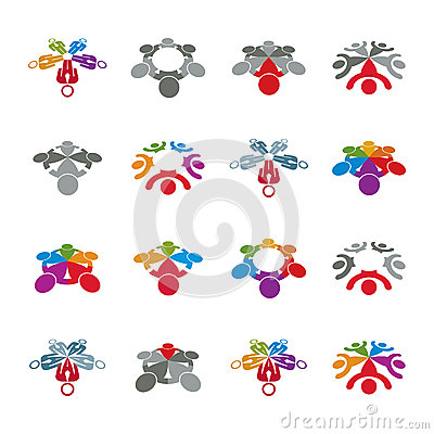 Teamwork and business team and friendship icon set, social group