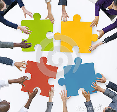 Free Teamwork Business Team Meeting Unity Jigsaw Puzzle Concept Stock Image - 47350521