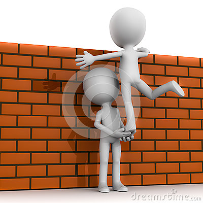 Teamwork climb wall