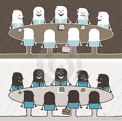 Teamwork colored cartoon