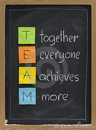 Teamwork concept on blackboard