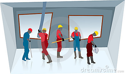 Teamwork of construction workers (vector)