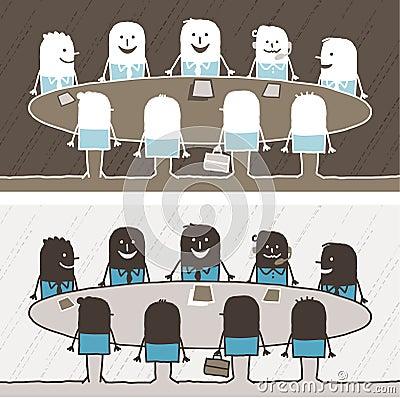 Teamwork farbige Karikatur