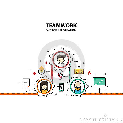 Teamwork Graphic Design Style Modern Vector Illustration