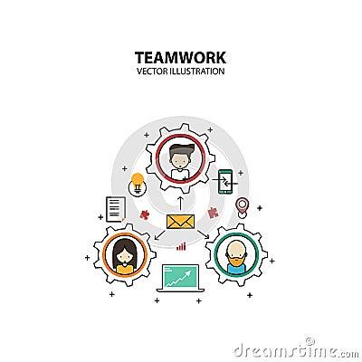 Teamwork Graphic Design Style Modern Vector Illustration