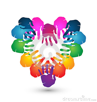 Teamwork hands heart shape logo