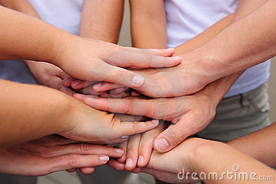 Teamwork hands together