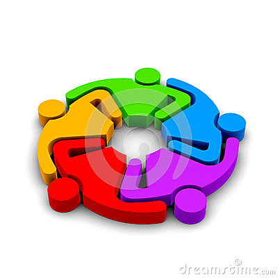 Teamwork Hugging , group of 5 colored persons