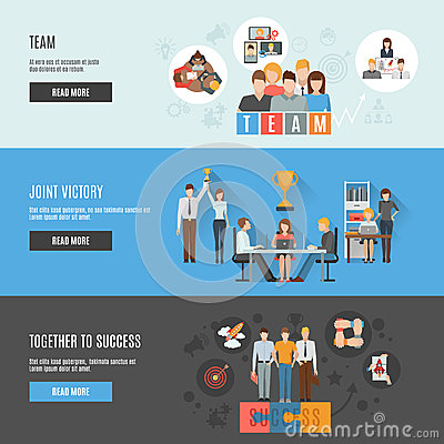 Teamwork Management Flat Interactive Horizontal Stock ...