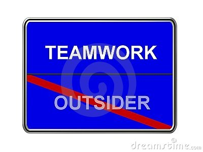 Teamwork and outsider sign