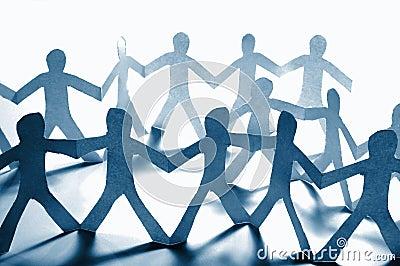 Teamwork of paper team