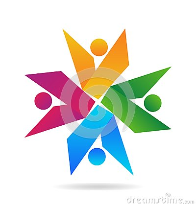 Free Teamwork People Abstract Shapes, Vector Logo Stock Photo - 115154540